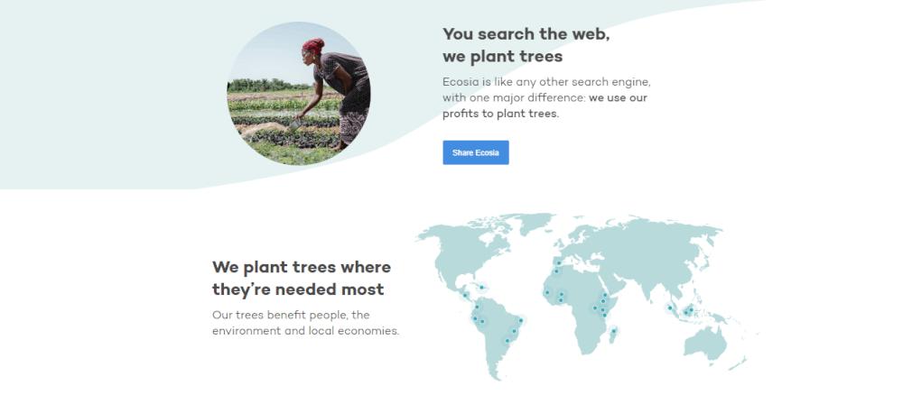 map ecosia planted